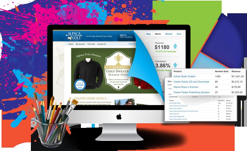 tienda online en un mac, con un diseño web y estadisticas